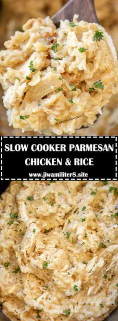 Slow Cooker Parmesan Chicken & Rice – a quick and easy weeknight recipe! Just du… Slow Cooker Parmesan Chicken & Rice – a quick and easy weeknight recipe! Just dump everything in the slow cooker and dinner is done! Chicken Parmesan Recipes, Garlic Recipes, Healthy Recipes, Easy Recipes, Popular Recipes, Easy Casserole Recipes, Casserole Dishes, Chicken Casserole, Chicken And Rice Dishes