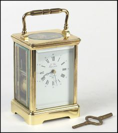 French L'Epee Brass Carriage Clock: Lot 129-7191 #french #brass #clock #antique