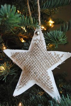 Linen and Burlap Star Ornaments - 22 Cute DIY Christmas Ornaments