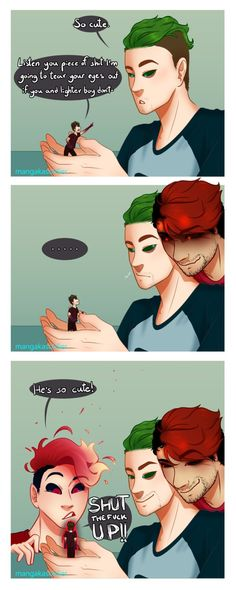 Meeting tiny Anti - Part 2 by mangakasoldier on DeviantArt Markiplier, Pewdiepie, Funny Cute, The Funny, Septiplier Fanart, Darkiplier And Antisepticeye, Kawaii Potato, Youtube Memes, Jack And Mark