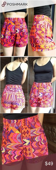 Mara Hoffman Colorful Festival Shorts! So cute! High waisted, gorgeous vibrant colors, perfect for summer. Wear with a tank or crop top or even a t-shirt! PES is polyester. In excellent shape. The fourth pic is the best representation of the colors. Mara Hoffman Shorts