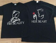 Beauty & The Beast couples shirts comes with matching his and her Shirts. COLORS: WHITE, BLACK, RED, AND YELLOW.      SIZE CHART    UNISEX T SHIRT