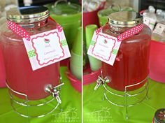 Watermelon party drink table featuring Chickabug printables