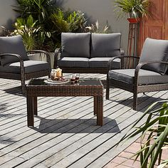 Jakarta Conversation Sofa Set in Charcoal - 4 Piece Garden Furniture, Outdoor Furniture Sets, Outdoor Decor, Conversation Sofa, Garden Online, Garden Ornaments, Solar Lights, Sofa Set, Online Furniture