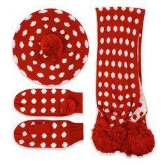 Lulu Red Polka Dot Hat Scarf Mitten Set | Vintage Style Accessories