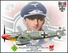 "Messerschmitt Bf 109 G-6 ""Gruen 1"" WNr. 16346 Stab/JG 50 pilotato dal Major Hermann Graf , 212 vittorie, 1943"