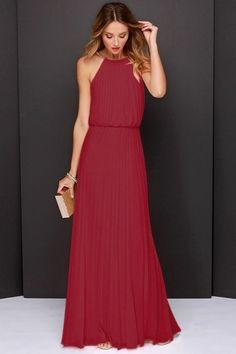 the-fashion-alba:Wine Red Sleeveless Pleated Maxi Dress Maxi Robes, Chiffon Maxi Dress, Dress P, Dress Outfits, Fashion Dresses, Pleated Maxi, Bodycon Dress, Chiffon Fabric, Maxis