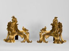 Superb pair of Louis XV period gilt bronze andirons with putti blowing soap bubbles, original gilt (Reference - Available at Gallerie Marc Maison Blowing Bubbles, Soap Bubbles, Architectural Antiques, Beautiful Curves, 18th Century, Period, Two By Two, Lion Sculpture, Bronze