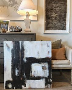 dropped off a new abstract today @bdjeffriesatl 36x36  #blackandwhite #neutral #geometric #africanstyle #texture #carriepenleyart