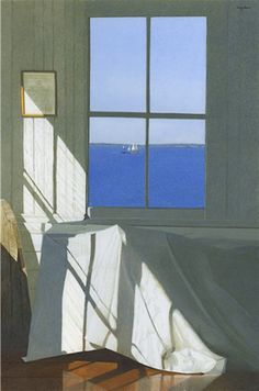Gary Akers -  Egg Tempera and watercolor on paper -  I love this work. The light, the composition, the serenity, the fabric, the floor. Would love to see it. S