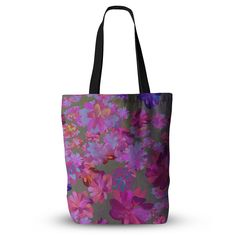 """Marianna Tankelevich """"Purple Flowers"""" Pink Blue Everything Tote Bag"""
