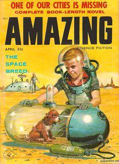 April 1958 ... Amazing Science Fiction! Publication cover illustration - Mid-Century Retro Futurism.