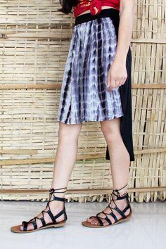 d7c0dcccbf1 Buy Apparels- Buy Black shibori print high low knee length skirt Online