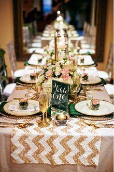 Emerald & champagne