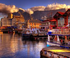 Cape Town Harbor with Table Mountain in the background.