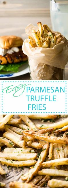 Restaurant style truffles fries are so easy to make! Baked shoestring fries tossed with truffle oil, parmesan and parsley are the perfect pairing for your favorite burgers and sandwiches. Healthy Vegan Snacks, Healthy Eating, Healthy Recipes, Yummy Recipes, Sandwiches, Burger Sides, Sides With Burgers, Parmesan Truffle Fries, Gluten Free Puff Pastry