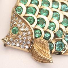 14k Yellow Gold Paraiba Tourmaline & Diamond Fish Pin/ Pendant by KABANA