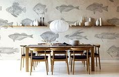 Lanalou Style | Robin Sprong wallpaper | http://lanaloustyle.com featured our Soil Design Fish Wallpaper.