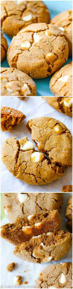 White Chocolate Molasses Cookies-- like the Christmas version of a chocolate chip cookie. No Cook Desserts, Just Desserts, Delicious Desserts, Yummy Food, Molasses Cookies, Ginger Cookies, White Chocolate Cookies, White Chocolate Chips, Baking Recipes