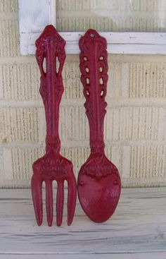 Distressed Cast Iron Decorative Spoon and Fork by ShabbrusticChic, $23.00
