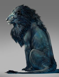 rikkisimons: My brother, Robert just painted a picture of Fel, the biomechanical lion from my book, Hitherto a Lion. It makes me very happy.