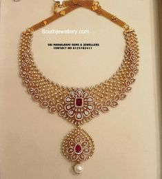18 carat gold necklace studded with diamonds and rubies by Sri Mahalaxmi Gems & Jewellers. Gold Jewellery Design, Gold Jewelry, Diamond Jewelry, Peacock Jewelry, Ruby Jewelry, Designer Jewelry, Gold Bangles, Jewelry Art, Antique Jewelry