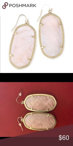 "Kendra Scott ""Danielle"" earrings in rose quartz NWOT 💖 Kendra Scott ""Danielle"" earrings in rose quartz. Will come in Kendra Scott duster bag. Kendra Scott Jewelry Earrings"
