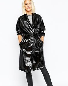 Selected Scarlet Shiny Belted Trench Coat