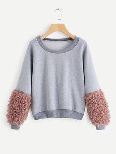 69d17cb7a Contrast Faux Fur Sleeve Sweatshirt