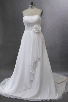 Informal A-line Strapless Chiffon Beach Wedding Dress with Flower JSWD0243
