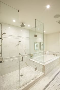 thinking about replacing the Jacuzzi with a walk in glass shower - Meredith Heron - marble bathroom, frameless glass shower, rain shower head, mosaic marble tiles floor and marble basketweave tiles floor