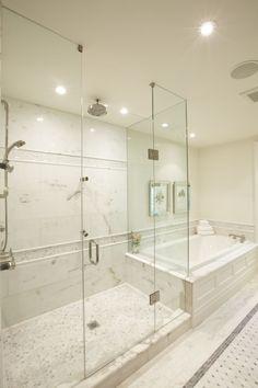Meredith Heron - marble bathroom, frameless glass shower, rain shower head, mosaic marble tiles floor and marble basketweave tiles floor