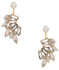 Diamond and pearl statement earrings
