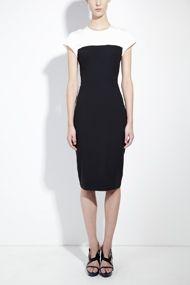 Black organic wool tailored pencil dress