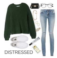 """""""Distressed Jeans"""" by minadinamike ❤ liked on Polyvore featuring Yves Saint Laurent, Vans, Valentino, Nordstrom, Rolex, Kenneth Jay Lane, AERIN and Ray-Ban"""