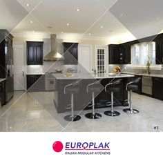 In black & white kitchen, the stools and cabinetry are custom-made with vintage hardware. For more details Visit : http://www.europlak.in/ #EuroplakIndia #ModularKitchen #ModularKitchenDesigns