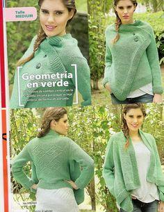 Зеленый жакет с ажурной спинкой - Жакеты,полуверы, свитера