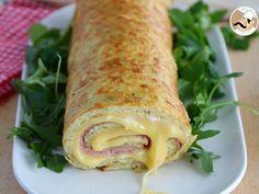 Rollo de tortilla de patatas relleno de jamón y queso, foto 1