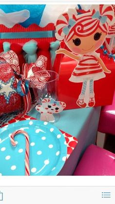 Fun table at a Lalaloopsy Christmas party! See more party ideas at CatchMyParty.com!  #partyideas #lalaloopsy