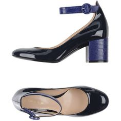 Lerre Pump ($323) ❤ liked on Polyvore featuring shoes, pumps, dark blue, leather mary janes, round toe mary jane pumps, dark blue pumps, animal pump and leather pumps