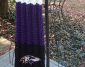 Baltimore Ravens Themed Hand Knit Scarf