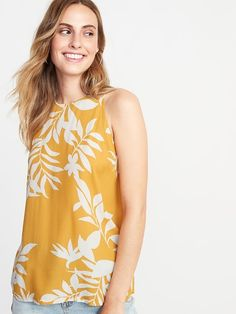 8c7423335139 Old Navy Women's Sleeveless Printed High-Neck Top Yellow Print Big And Tall  Size XXL