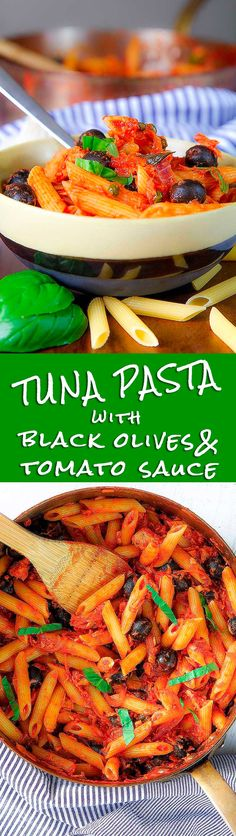 TUNA PASTA with olives capers and tomato sauce - Tuna pasta is one of the most famous Italian comfort food! There are several version of this recipe. Today I prepared it with tomato sauce, capers and black olives. Even if the sauce is perfect just cooked, the day after will be even more tasty! Just prepare the sauce one day in advance and toss with the pasta just before eating. - cooking healthy pescetarian dinner