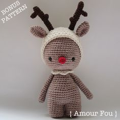 Transform your Pemberley bear into a reindeer for Christmas!!  Pemberley, the Bear - Crochet Pattern by {Amour Fou}