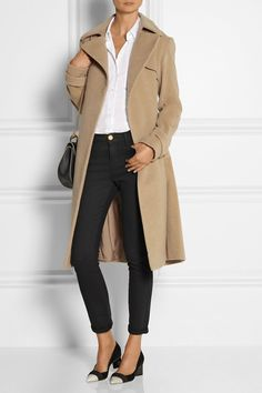 THEORY Terrance cashmere coat £1,550  THEORY The Perfect cotton-poplin shirt £195  NICHOLAS KIRKWOOD Suede and elaphe pumps £490  CHLOÉ Drew leather shoulder bag £970