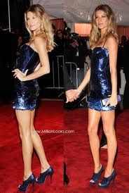 Gisele in a sexy blue metallic versace mini