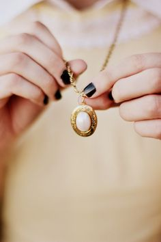 Necklace Photography: Locket. Would look great with other bright nail colors as well...