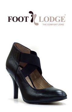 Foot Lodge Mid-heel Leather Court Shoe with Elastic Criss-Cross for Women. Code: 12-35
