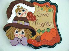 Thanksgiving Give Thanks Banner Pilgrims Pumpkin by loisling