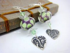 Sterling silver purple green polka dots lampwork heart beaded earrings | LittleApples - Jewelry on ArtFire